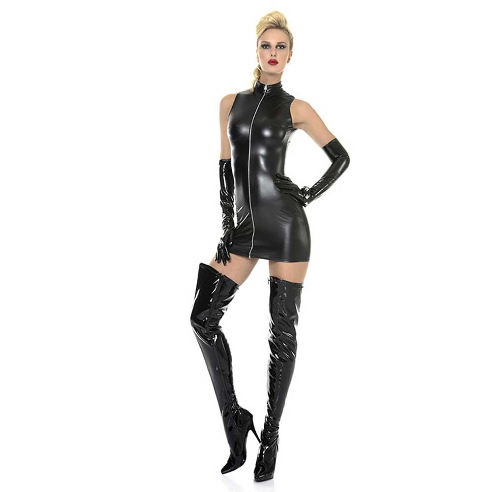 Lindsay korte wetlook jurk met ritssluit
