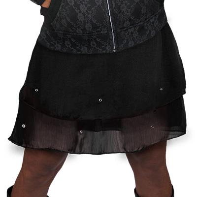 Chiffon stud skirt black - Spiral