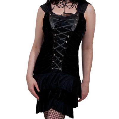 Velvet strap dress black - Spiral