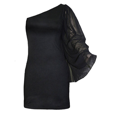 Shoulder Batwing dress black - Spiral