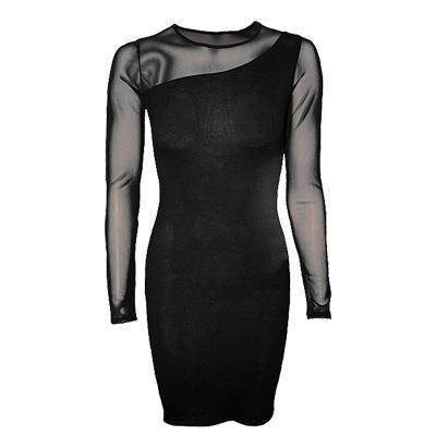One shoulder fine mesh dress black -