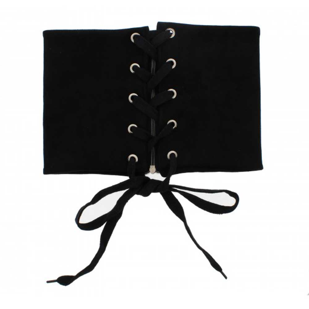 Suede waist lace up corset belt with zip