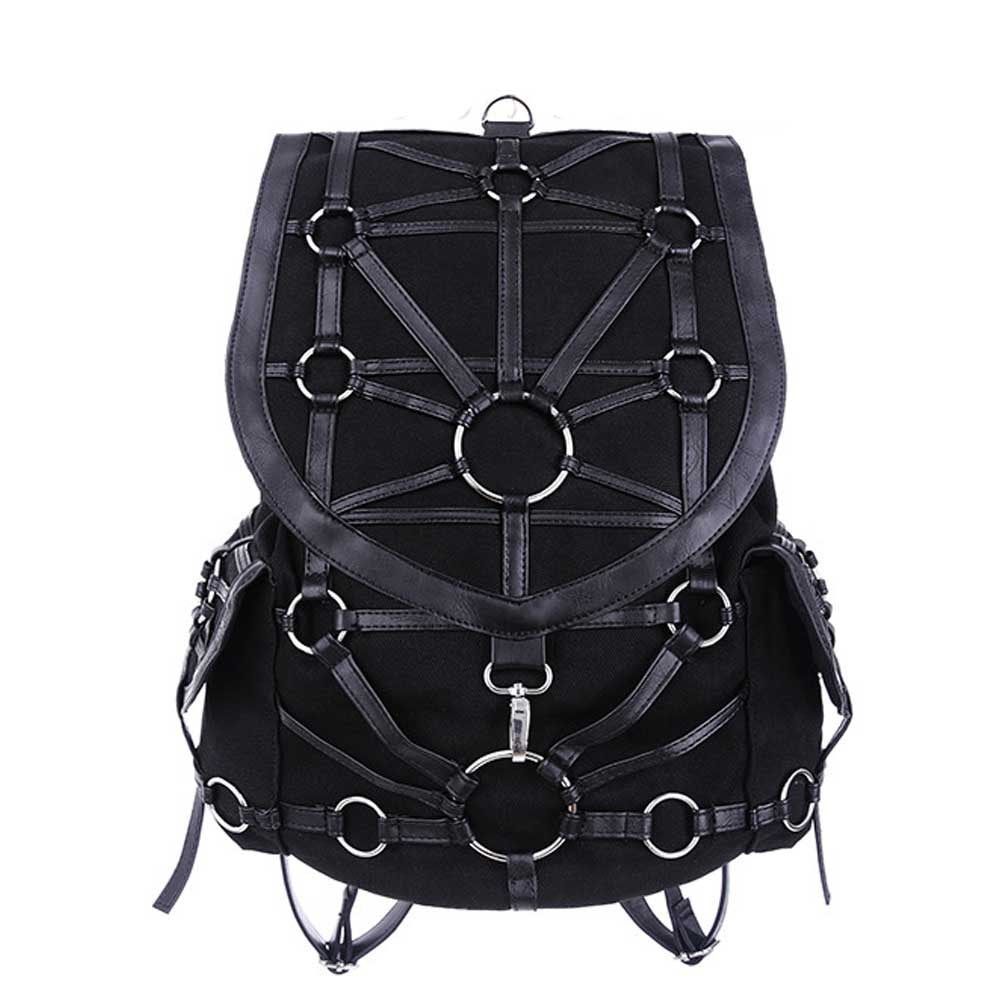 O-ring backpack with faux leather straps