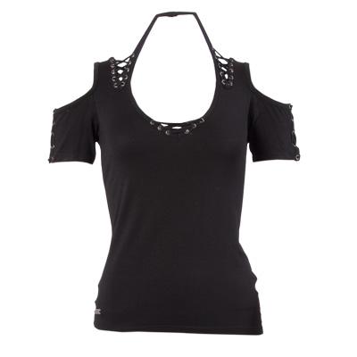 Top shirt met corsetvetering en open ach