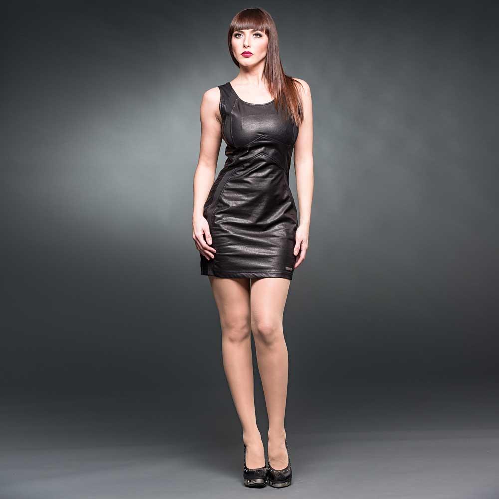 Nep leren mini jurk zwart - Gothic Glamr