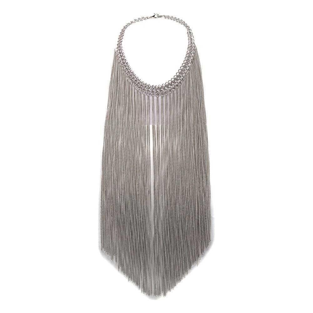 Silver necklace with long chains - Queen