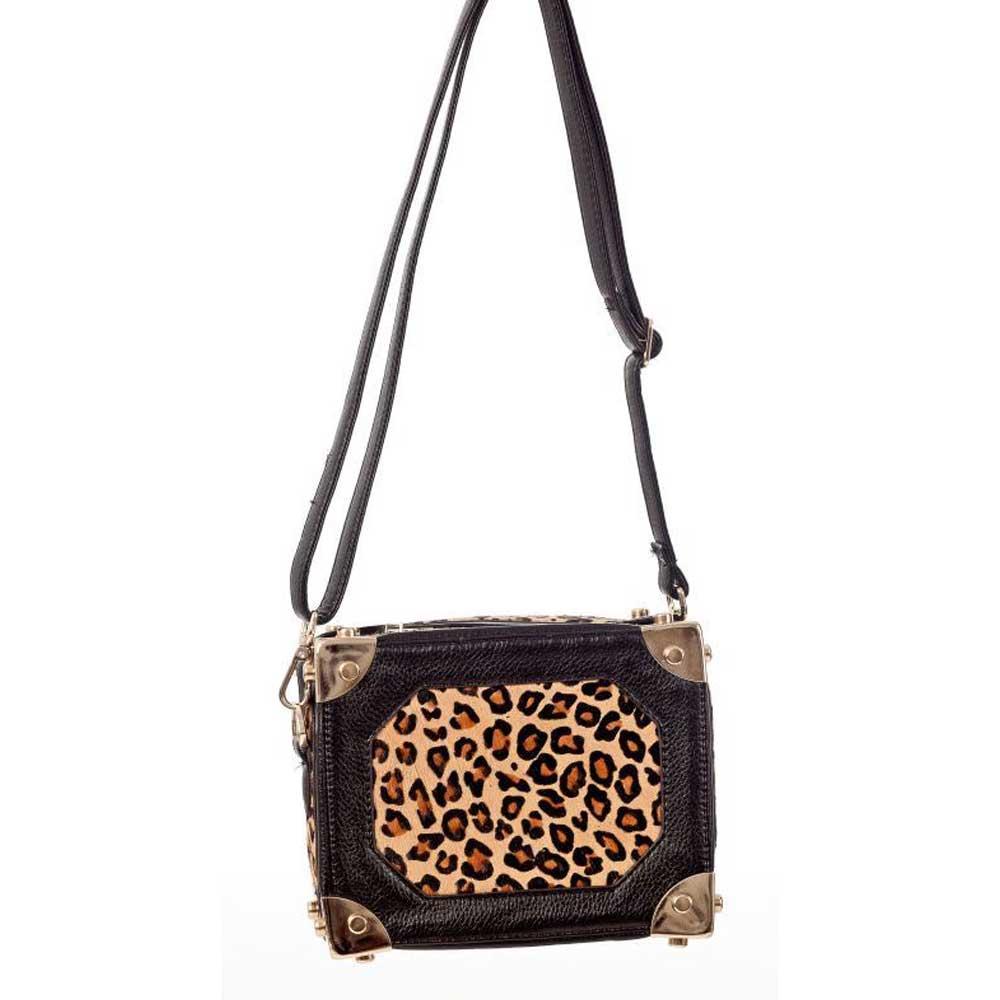 Leopard suitcase shoulder bag from imita
