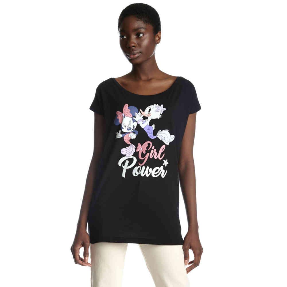 Disney Disney Disney Damen Tshirt Girl Power Schwarz Attitude Deutsch